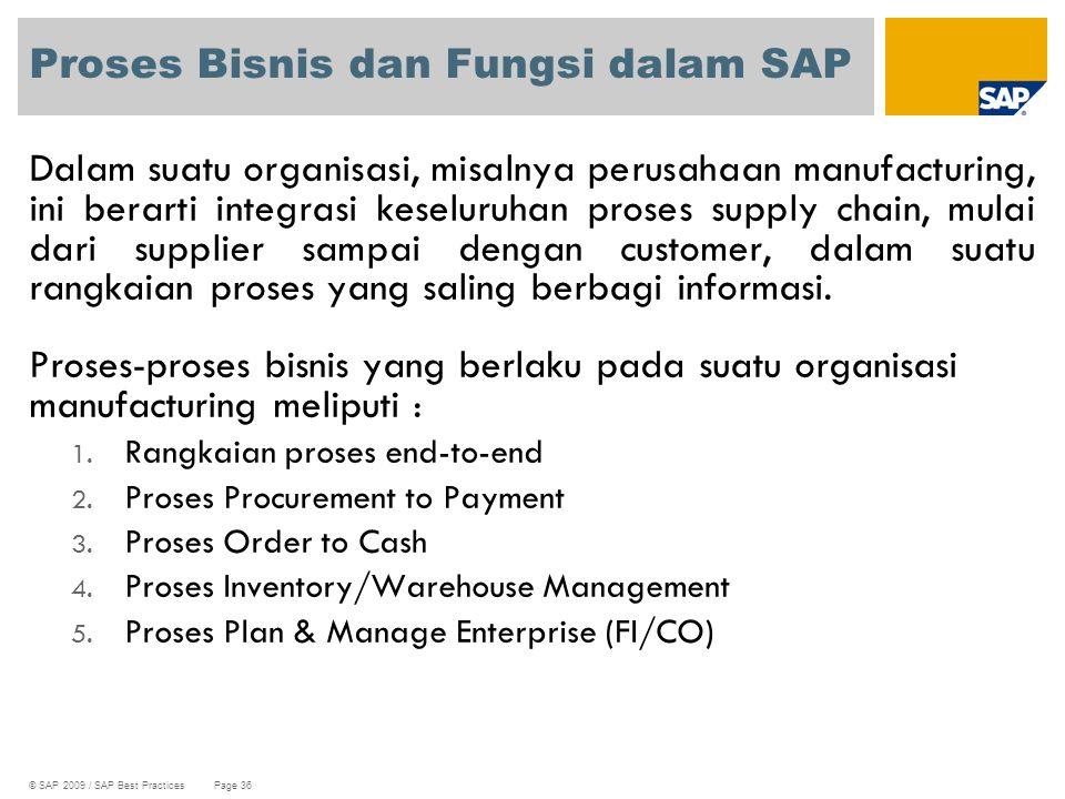 © SAP 2009 / SAP Best Practices Page 36 Proses Bisnis dan Fungsi dalam SAP Dalam suatu organisasi, misalnya perusahaan manufacturing, ini berarti inte