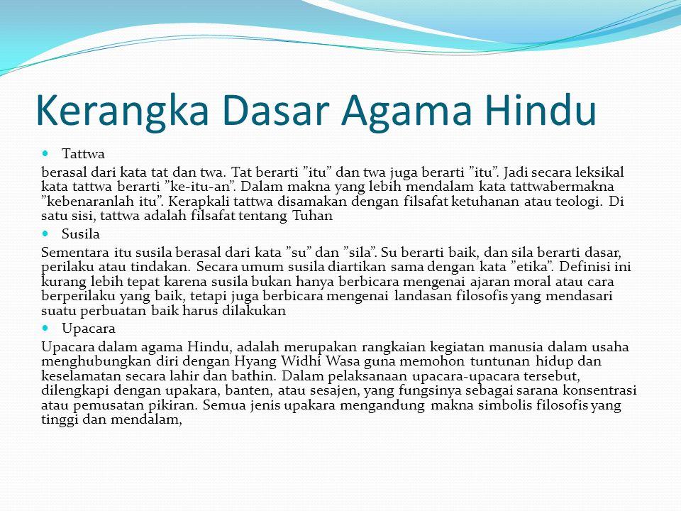 Kerangka Dasar Agama Hindu Tattwa berasal dari kata tat dan twa.
