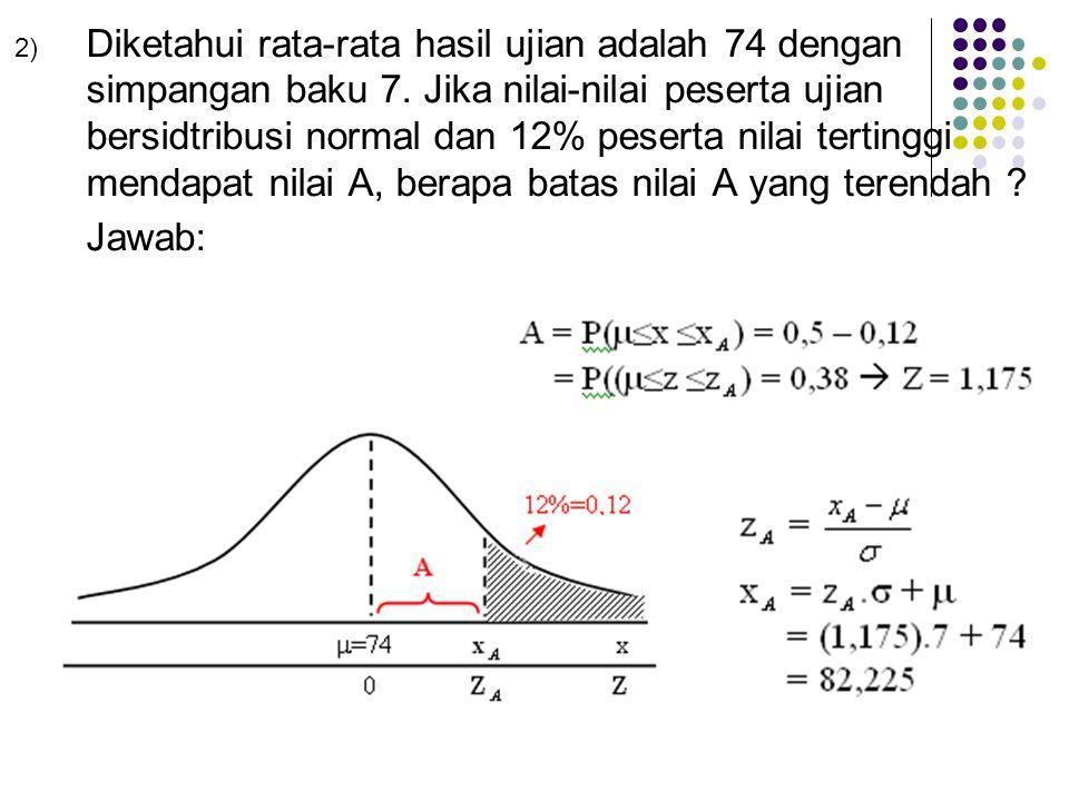 2) Diketahui rata-rata hasil ujian adalah 74 dengan simpangan baku 7. Jika nilai-nilai peserta ujian bersidtribusi normal dan 12% peserta nilai tertin