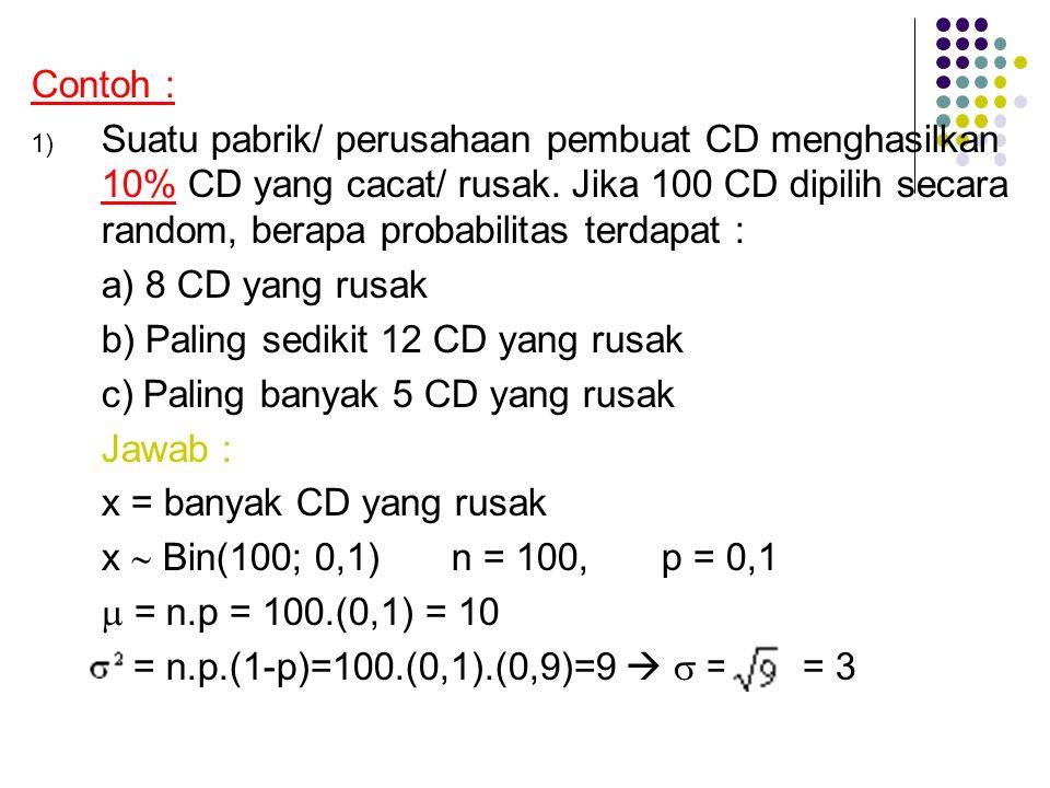 Contoh : 1) Suatu pabrik/ perusahaan pembuat CD menghasilkan 10% CD yang cacat/ rusak. Jika 100 CD dipilih secara random, berapa probabilitas terdapat