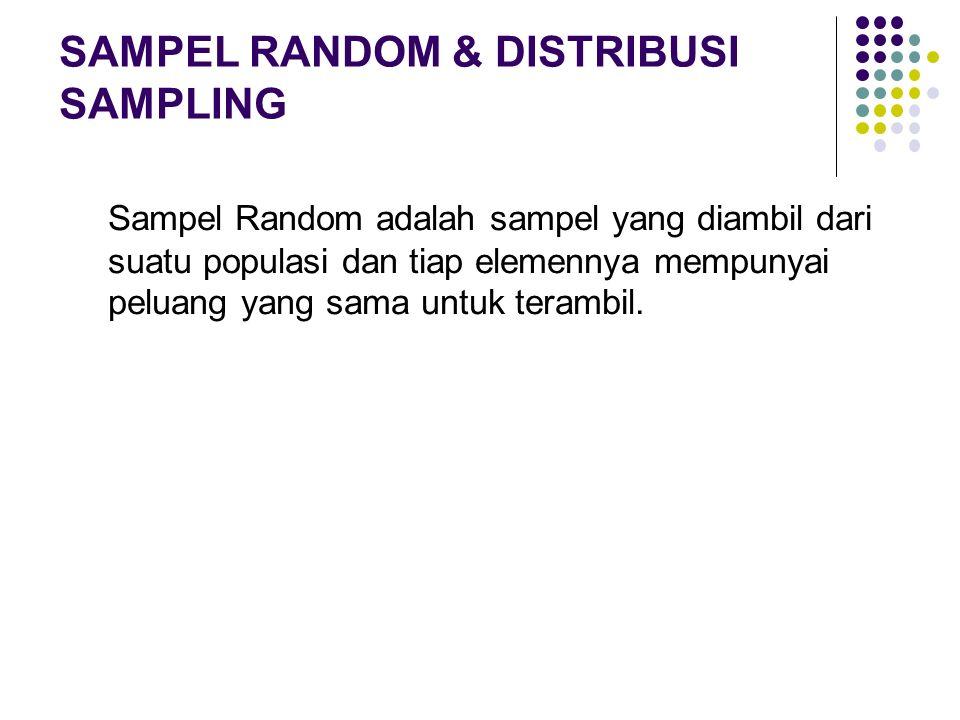 Sampel Random adalah sampel yang diambil dari suatu populasi dan tiap elemennya mempunyai peluang yang sama untuk terambil. SAMPEL RANDOM & DISTRIBUSI