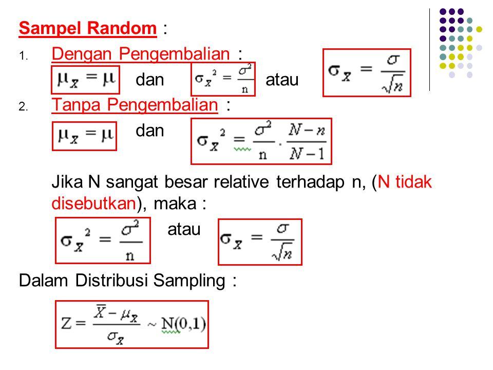 Sampel Random : 1. Dengan Pengembalian : dan atau 2. Tanpa Pengembalian : dan Jika N sangat besar relative terhadap n, (N tidak disebutkan), maka : at