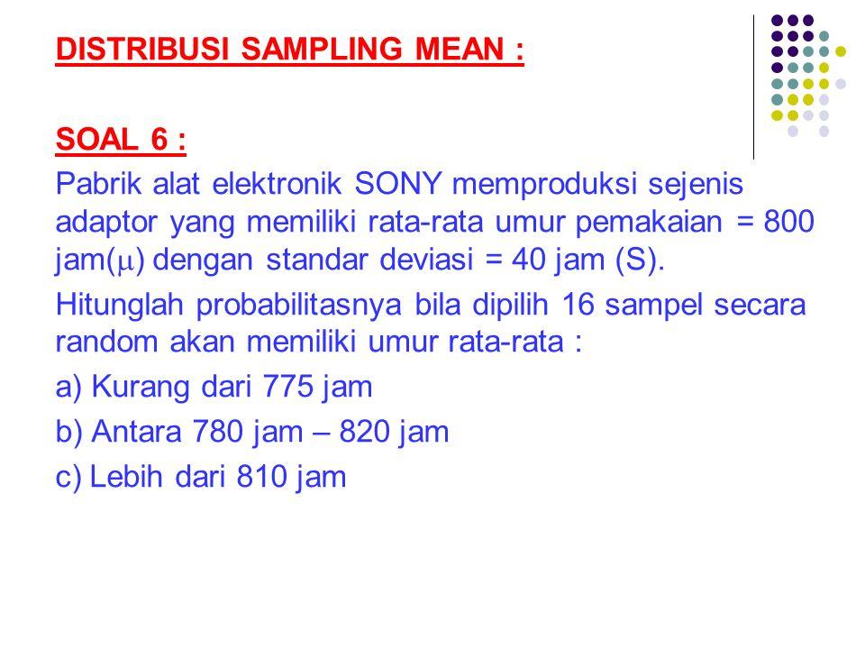 DISTRIBUSI SAMPLING MEAN : SOAL 6 : Pabrik alat elektronik SONY memproduksi sejenis adaptor yang memiliki rata-rata umur pemakaian = 800 jam(  ) deng