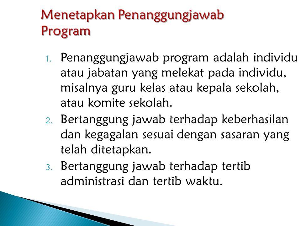 1. Penanggungjawab program adalah individu atau jabatan yang melekat pada individu, misalnya guru kelas atau kepala sekolah, atau komite sekolah. 2. B