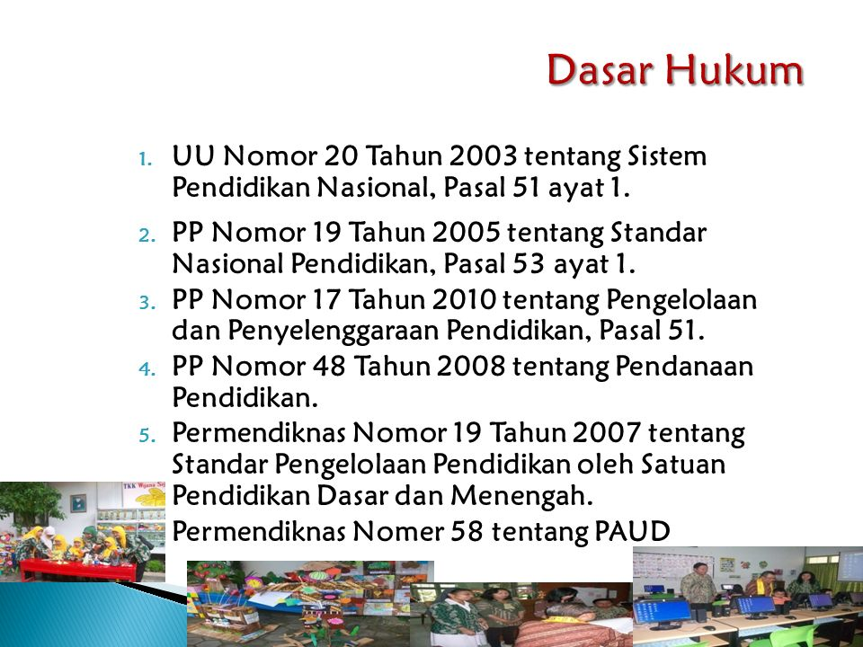 1. UU Nomor 20 Tahun 2003 tentang Sistem Pendidikan Nasional, Pasal 51 ayat 1. 2. PP Nomor 19 Tahun 2005 tentang Standar Nasional Pendidikan, Pasal 53