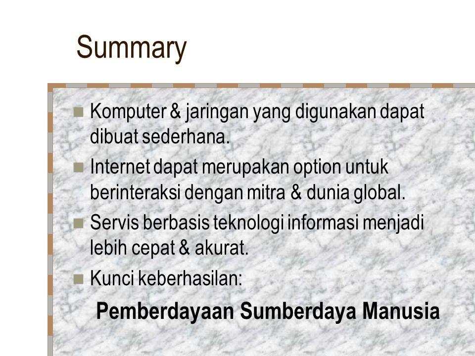 Summary Komputer & jaringan yang digunakan dapat dibuat sederhana.