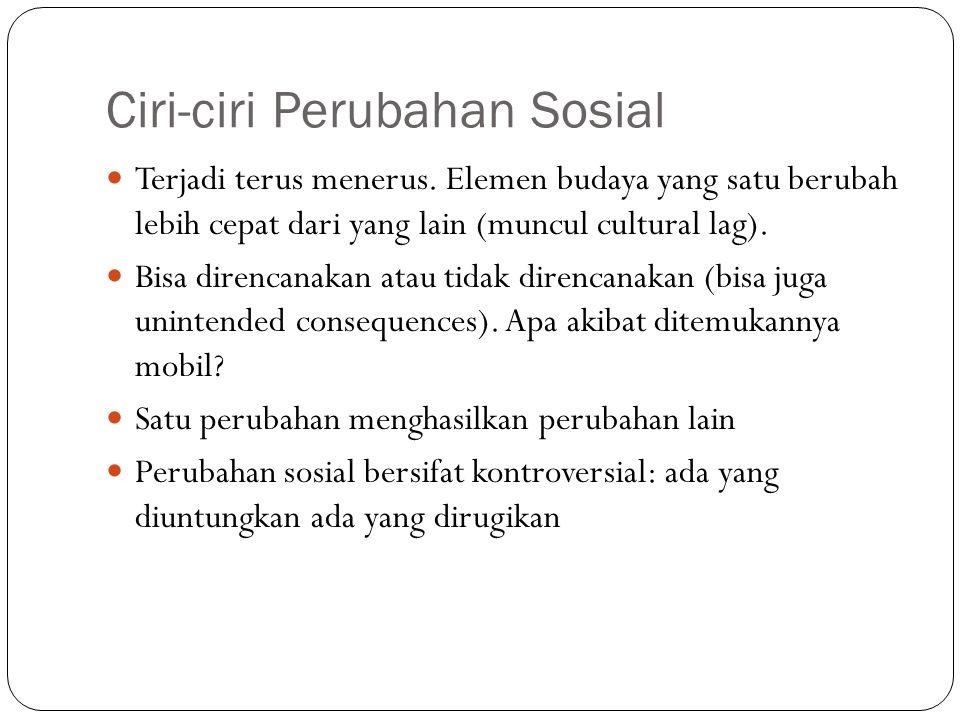 Ciri-ciri Perubahan Sosial Terjadi terus menerus.