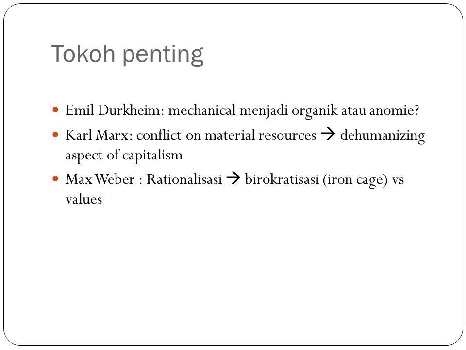 Tokoh penting Emil Durkheim: mechanical menjadi organik atau anomie.