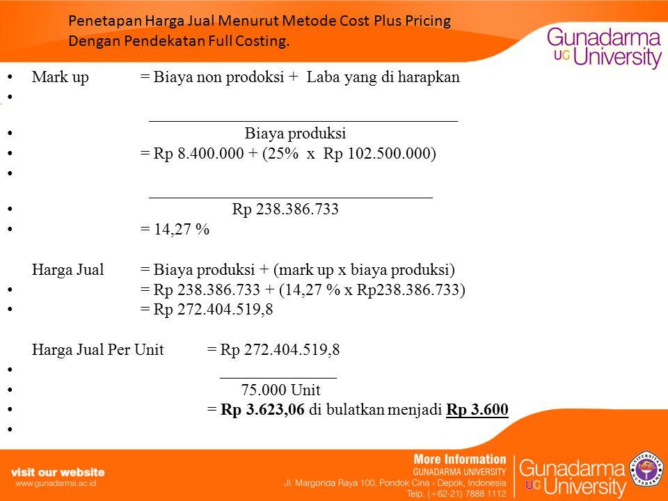 Pembuktian & ROI Pembuktian perhitungan harga jual yang menghasilkan kembalian investasi yang di harapkan perusahaan adalah sebagai berikut : Penjualan= Rp 272.404.519,8 HPP= ( Rp 238.386.733 ) ________________ Laba kotor= Rp 34.017.786,8 Biaya non produksi= ( Rp 8.400.000 ) ________________ Laba bersih usaha= Rp 25.617.786,8 ROI = Laba bersih usaha x Penjualan ______________ ________ Penjualan Aktiva = Rp 25.617.786,8 x Rp 272.404.519,8 ______________ _______________ Rp 272.404.519,8 Rp 102.500.000 = 24,98 % di bulatkan menjadi 25 % Jadi dari hasil di atas dapat di ketahui perbedaan penghitungan yang di lakukan antara perusahaan dan penulis.