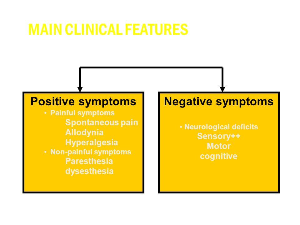 Negative symptoms Neurological deficits Sensory++ Motor cognitive Positive symptoms Painful symptoms Spontaneous pain Allodynia Hyperalgesia Non-painful symptoms Paresthesia dysesthesia MAIN CLINICAL FEATURES