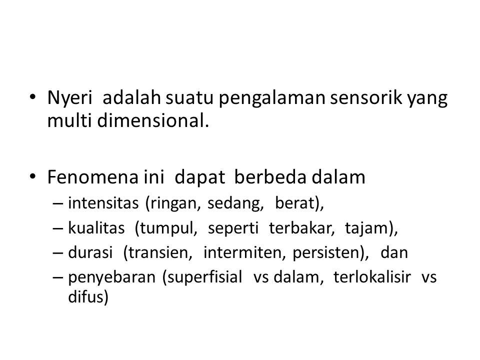 Nyeri adalah suatu pengalaman sensorik yang multi dimensional.