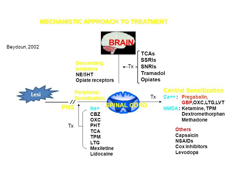 MECHANISTIC APPROACH TO TREATMENT BRAIN PNS Central Sensitization Ca++ : Pregabalin, GBP,OXC,LTG,LVT NMDA : Ketamine, TPM Dextromethorphan Methadone Others Capsaicin NSAIDs Cox inhibitors Levodopa Descending Inhibitors NE/5HT Opiate receptors Peripheral Sensitization Na+ CBZ OXC PHT TCA TPM LTG Mexiletine Lidocaine TCAs SSRIs SNRIs Tramadol Opiates Beydoun, 2002 Tx Lesi Tx SPINAL CORD
