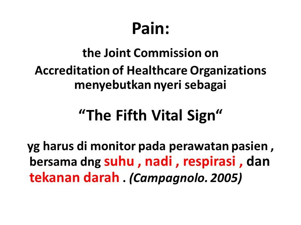 Pain: the Joint Commission on Accreditation of Healthcare Organizations menyebutkan nyeri sebagai The Fifth Vital Sign yg harus di monitor pada perawatan pasien, bersama dng suhu, nadi, respirasi, dan tekanan darah.