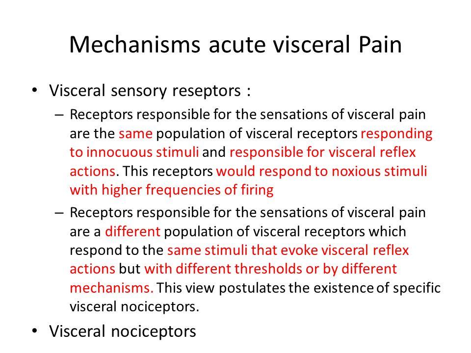 Mechanisms acute visceral Pain Visceral sensory reseptors : – Receptors responsible for the sensations of visceral pain are the same population of visceral receptors responding to innocuous stimuli and responsible for visceral reflex actions.