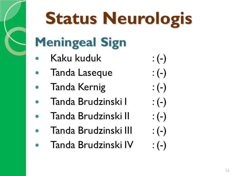 Status Neurologis Meningeal Sign Kaku kuduk: (-) Tanda Laseque: (-) Tanda Kernig: (-) Tanda Brudzinski I: (-) Tanda Brudzinski II: (-) Tanda Brudzinsk