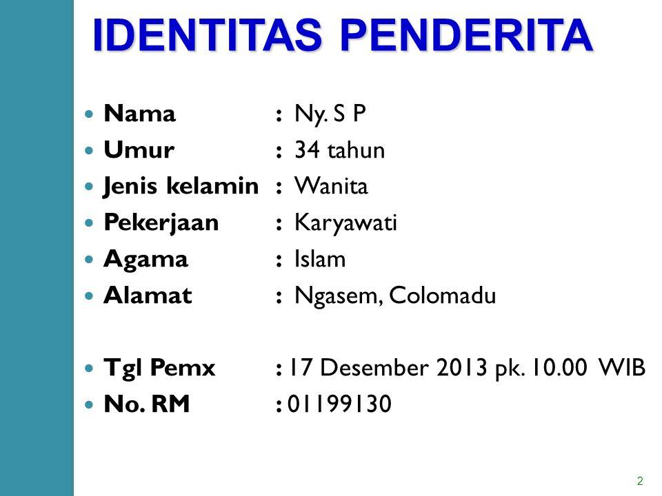 IDENTITAS PENDERITA Nama : Ny.