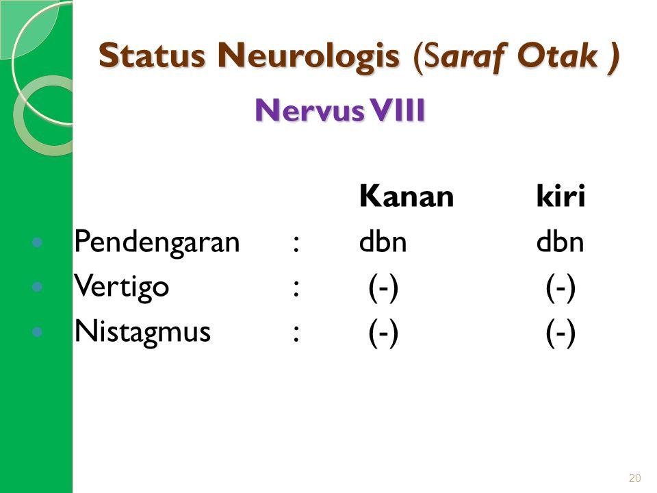 Status Neurologis (Saraf Otak ) Nervus VIII Kanan kiri Pendengaran:dbn dbn Vertigo: (-) (-) Nistagmus: (-) (-) 20