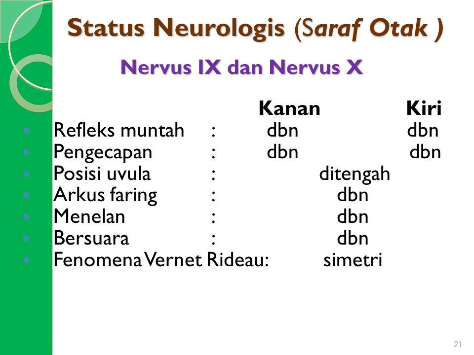 Status Neurologis (Saraf Otak ) Nervus IX dan Nervus X Kanan Kiri Refleks muntah: dbn dbn Pengecapan: dbn dbn Posisi uvula: ditengah Arkus faring: dbn
