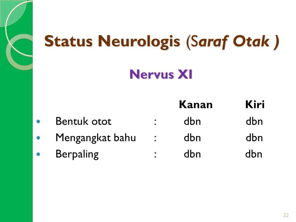 Status Neurologis (Saraf Otak ) Nervus XI Kanan Kiri Bentuk otot: dbn dbn Mengangkat bahu : dbn dbn Berpaling: dbn dbn 22