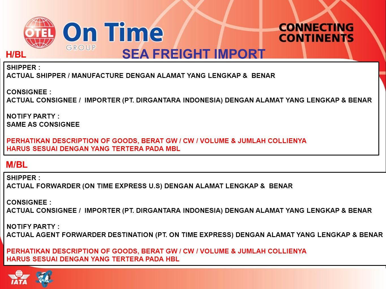 H/BL SHIPPER : ACTUAL SHIPPER / MANUFACTURE DENGAN ALAMAT YANG LENGKAP & BENAR CONSIGNEE : ACTUAL CONSIGNEE / IMPORTER (PT. DIRGANTARA INDONESIA) DENG
