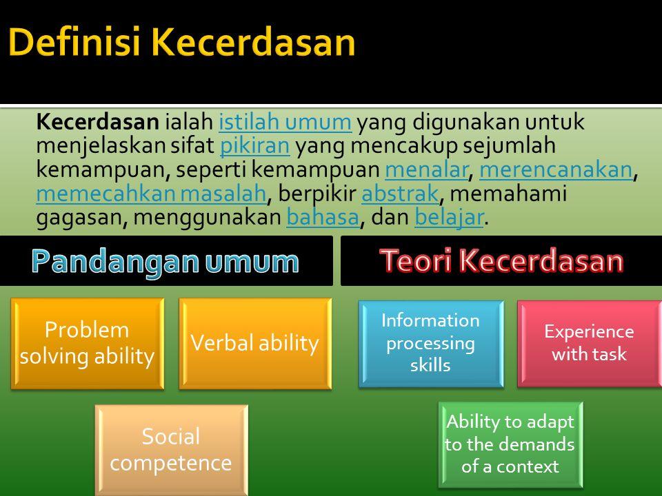 Kecerdasan ialah istilah umum yang digunakan untuk menjelaskan sifat pikiran yang mencakup sejumlah kemampuan, seperti kemampuan menalar, merencanakan, memecahkan masalah, berpikir abstrak, memahami gagasan, menggunakan bahasa, dan belajar.istilah umumpikiranmenalarmerencanakan memecahkan masalahabstrakbahasabelajar Problem solving ability Verbal ability Social competence Information processing skills Experience with task Ability to adapt to the demands of a context