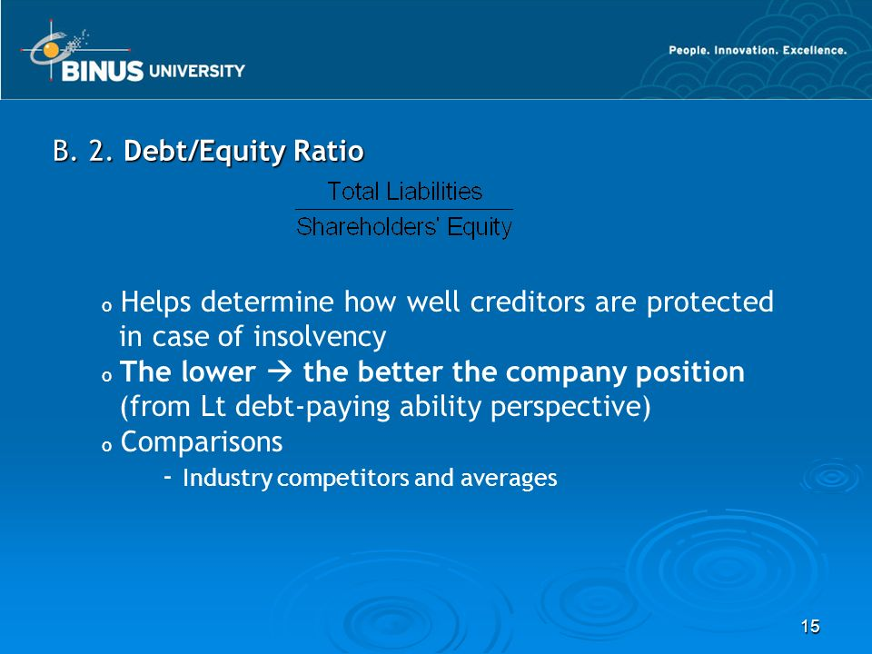15 B. 2. Debt/Equity Ratio o Helps determine how well creditors are protected in case of insolvency o The lower  the better the company position (fro