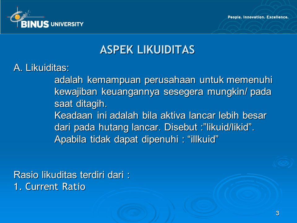 3 ASPEK LIKUIDITAS A. Likuiditas: adalah kemampuan perusahaan untuk memenuhi adalah kemampuan perusahaan untuk memenuhi kewajiban keuangannya sesegera
