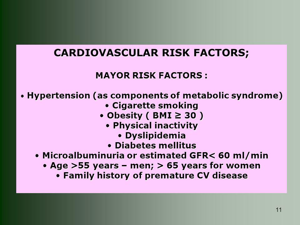 11 CARDIOVASCULAR RISK FACTORS; MAYOR RISK FACTORS : Hypertension (as components of metabolic syndrome) Hypertension (as components of metabolic syndr