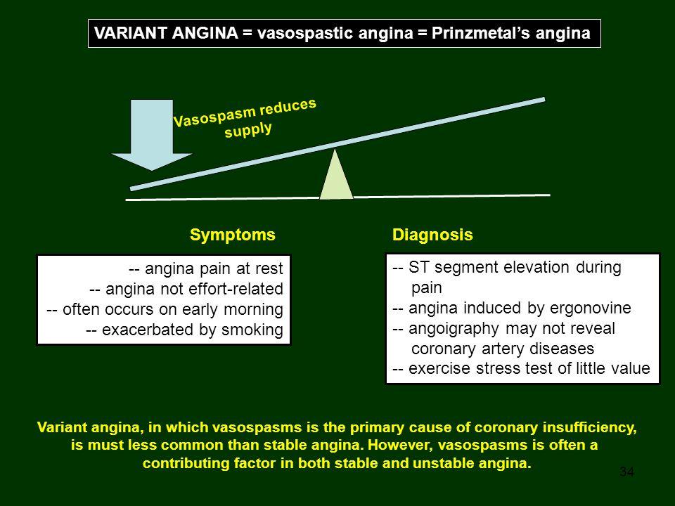 34 VARIANT ANGINA = vasospastic angina = Prinzmetal's angina Vasospasm reduces supply Symptoms -- angina pain at rest -- angina not effort-related --