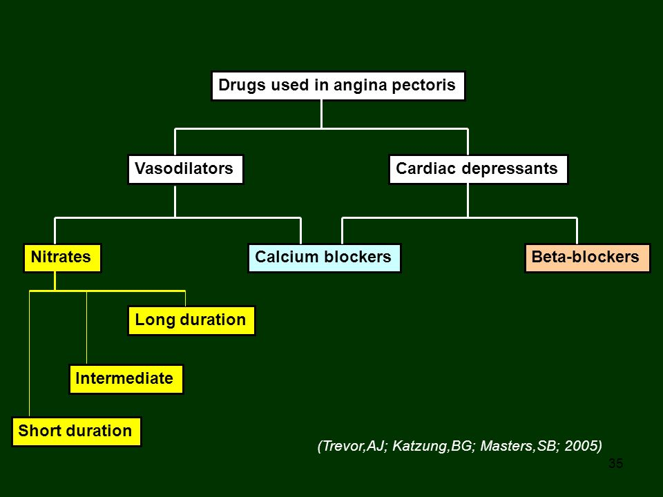 35 Drugs used in angina pectoris VasodilatorsCardiac depressants NitratesCalcium blockersBeta-blockers Long duration Intermediate Short duration (Trev