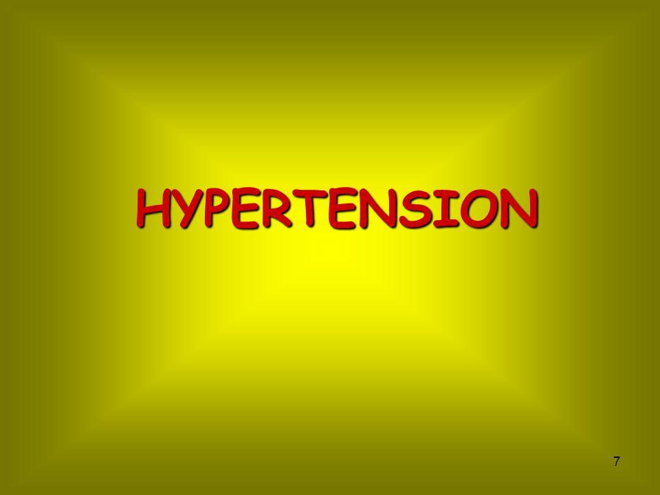 8 Hypertension SBP > 140 mmHg DBP> 85 mmHg Heart Vital organs risk Coronary factors Myocardium factors CHDLVH Congestive heart failure Arrhythmia cordis Sudden death Stroke Multi infarct dementia Peripheral vascular disease Aortic aneurysm Renal failure Disability R.