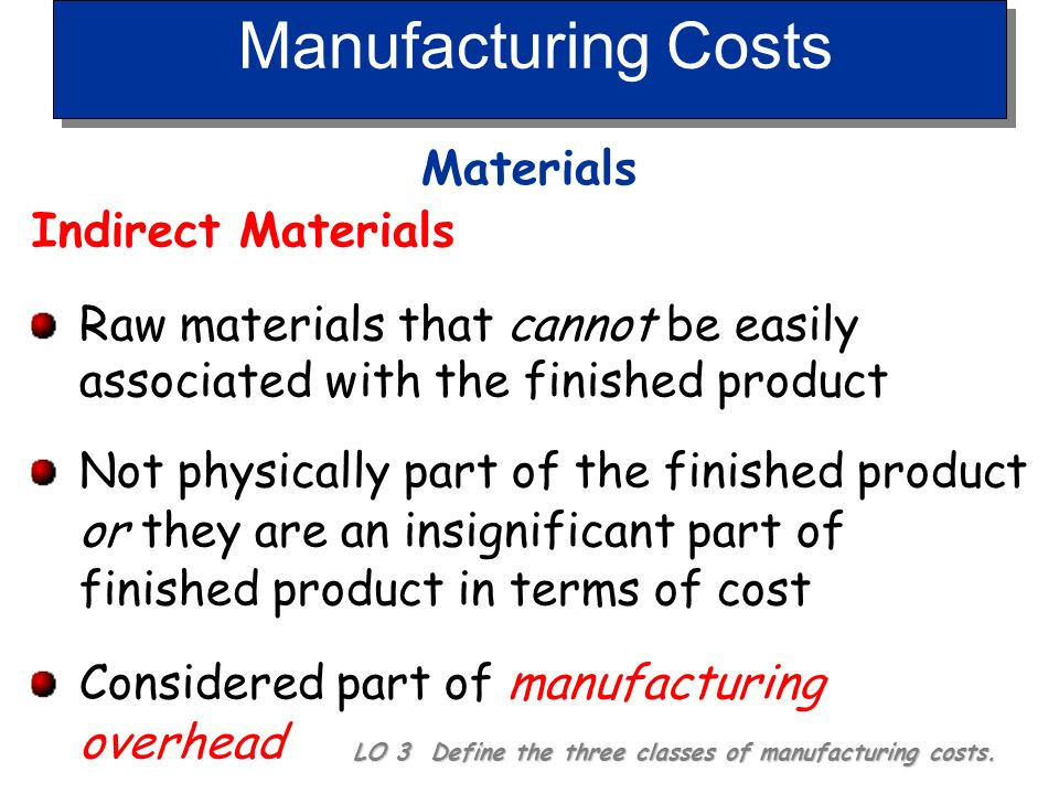 Manufacturing Costs Materials LO 3 Define the three classes of manufacturing costs. Raw Materials Basic materials used in manufacturing Direct Materia