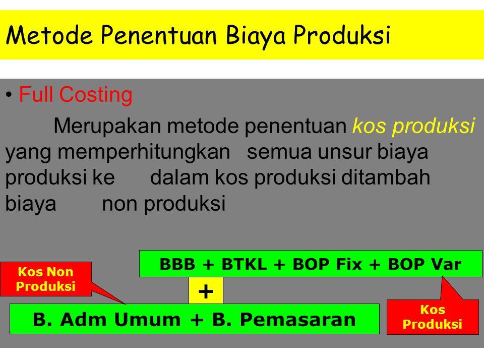Klasifikasi Umum Biaya Biaya Produksi: BB (langsung -tidak langsung) BTK (langsung- tidak langsung) BOP Biaya Non Produksi: Biaya pemasaran atau penju