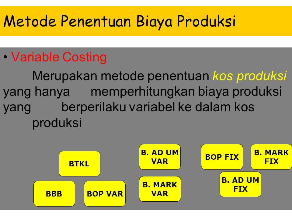 Metode Penentuan Biaya Produksi Full Costing Merupakan metode penentuan kos produksi yang memperhitungkan semua unsur biaya produksi ke dalam kos prod