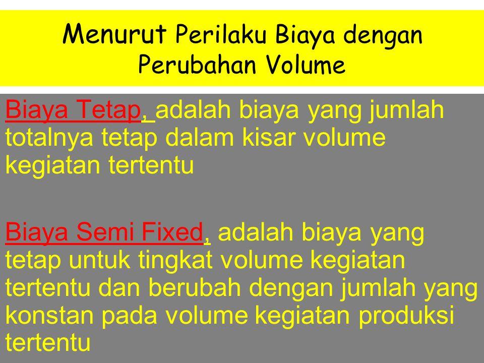Menurut Perilaku Biaya dengan Perubahan Volume Biaya Variabel, adalah biaya yang jumlah totalnya berubah sebanding dengan perubahan volume kegiatan Bi