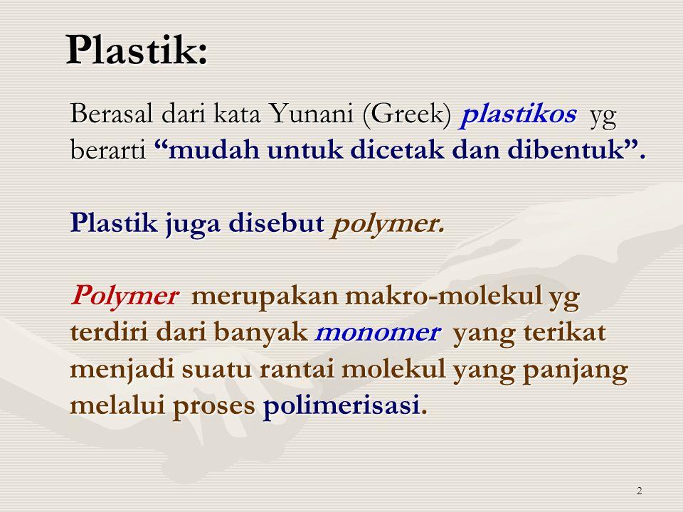 """Plastik: Berasal dari kata Yunani (Greek) plastikos yg berarti """"mudah untuk dicetak dan dibentuk"""". Plastik juga disebut polymer. Polymer merupakan mak"""