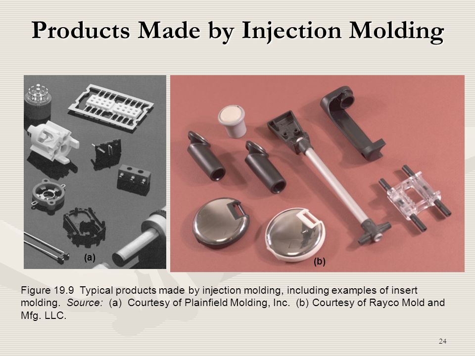24 Products Made by Injection Molding Figure 19.9 Typical products made by injection molding, including examples of insert molding. Source: (a) Courte