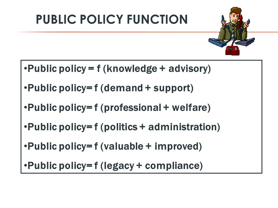 Public policy = f (knowledge + advisory) Public policy= f (demand + support) Public policy= f (professional + welfare) Public policy= f (politics + administration) Public policy= f (valuable + improved) Public policy= f (legacy + compliance) PUBLIC POLICY FUNCTION
