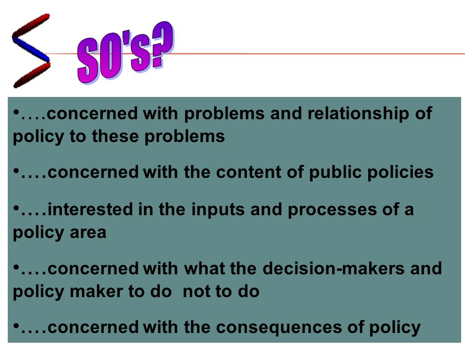 ….concerned with problems and relationship of policy to these problems ….