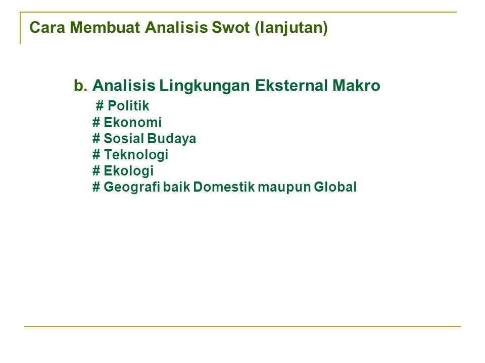 Cara Membuat Analisis Swot (lanjutan) b.