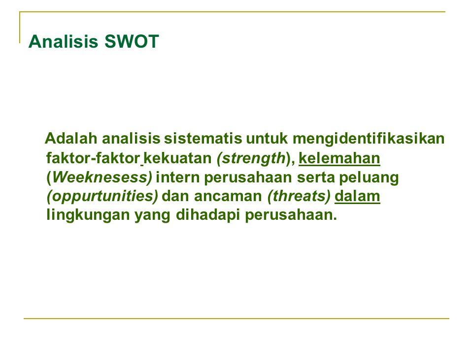 Analisis SWOT Adalah analisis sistematis untuk mengidentifikasikan faktor-faktor kekuatan (strength), kelemahan (Weeknesess) intern perusahaan serta peluang (oppurtunities) dan ancaman (threats) dalam lingkungan yang dihadapi perusahaan.