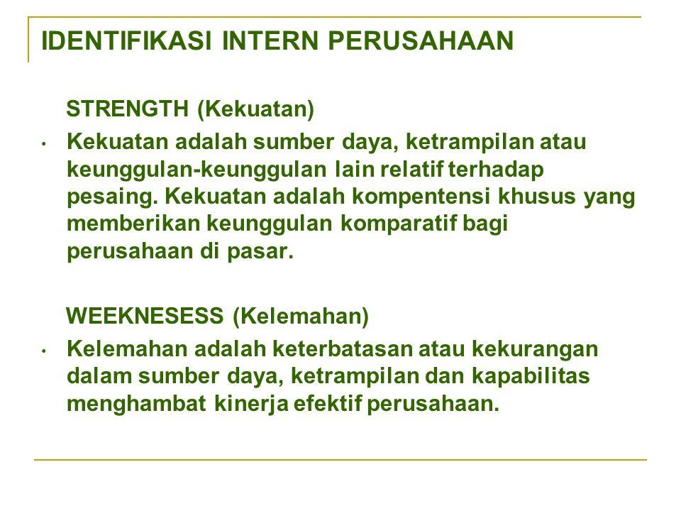 IDENTIFIKASI INTERN PERUSAHAAN STRENGTH (Kekuatan) Kekuatan adalah sumber daya, ketrampilan atau keunggulan-keunggulan lain relatif terhadap pesaing.