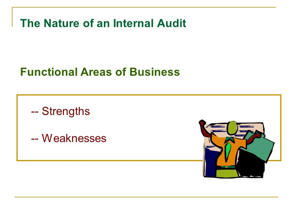 Internal strengths/weaknesses External opportunities/threats Clear statement of mission Nature of an Internal Audit Basis for Objectives & Strategies
