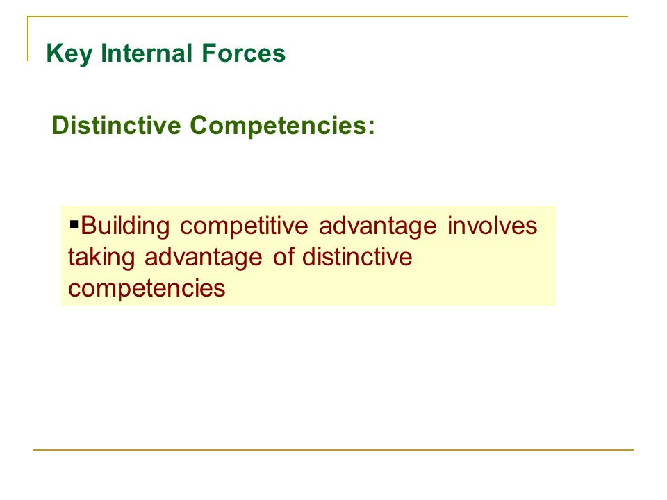 Key Internal Forces Distinctive Competencies:  Strategies designed to improve on a firm's weaknesses and turn to strengths
