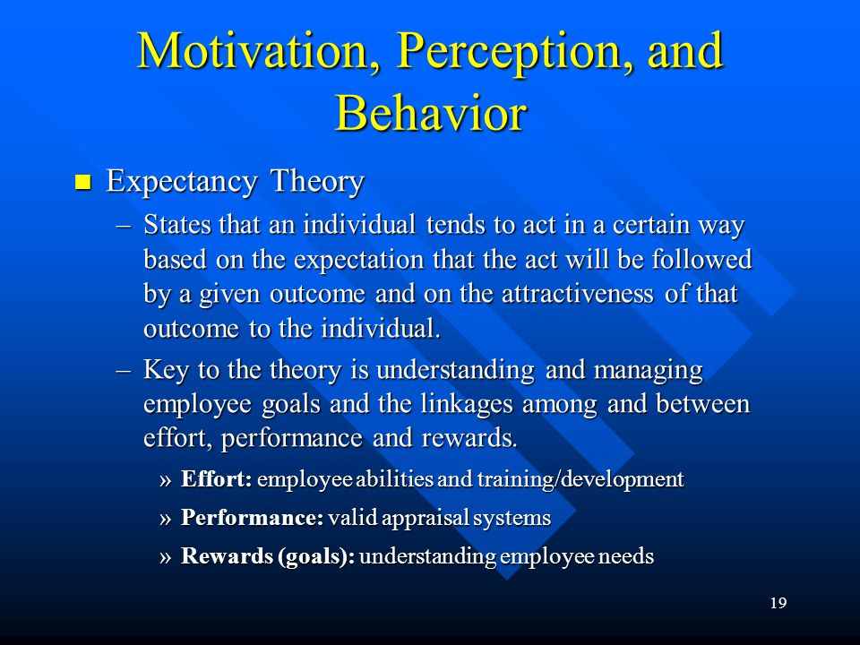 19 Motivation, Perception, and Behavior Expectancy Theory Expectancy Theory –States that an individual tends to act in a certain way based on the expectation that the act will be followed by a given outcome and on the attractiveness of that outcome to the individual.