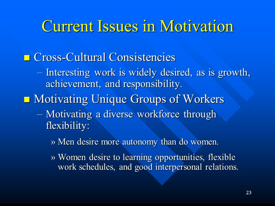 23 Current Issues in Motivation Cross-Cultural Consistencies Cross-Cultural Consistencies –Interesting work is widely desired, as is growth, achievement, and responsibility.