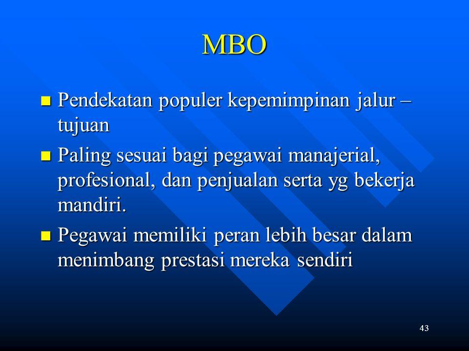 43 MBO Pendekatan populer kepemimpinan jalur – tujuan Pendekatan populer kepemimpinan jalur – tujuan Paling sesuai bagi pegawai manajerial, profesional, dan penjualan serta yg bekerja mandiri.