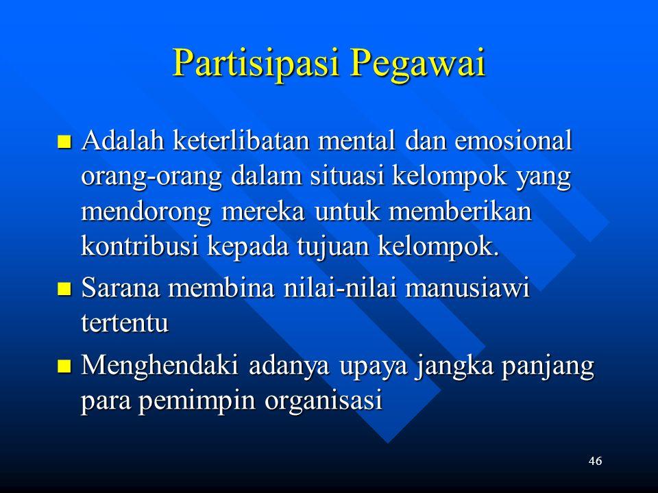 46 Partisipasi Pegawai Adalah keterlibatan mental dan emosional orang-orang dalam situasi kelompok yang mendorong mereka untuk memberikan kontribusi k