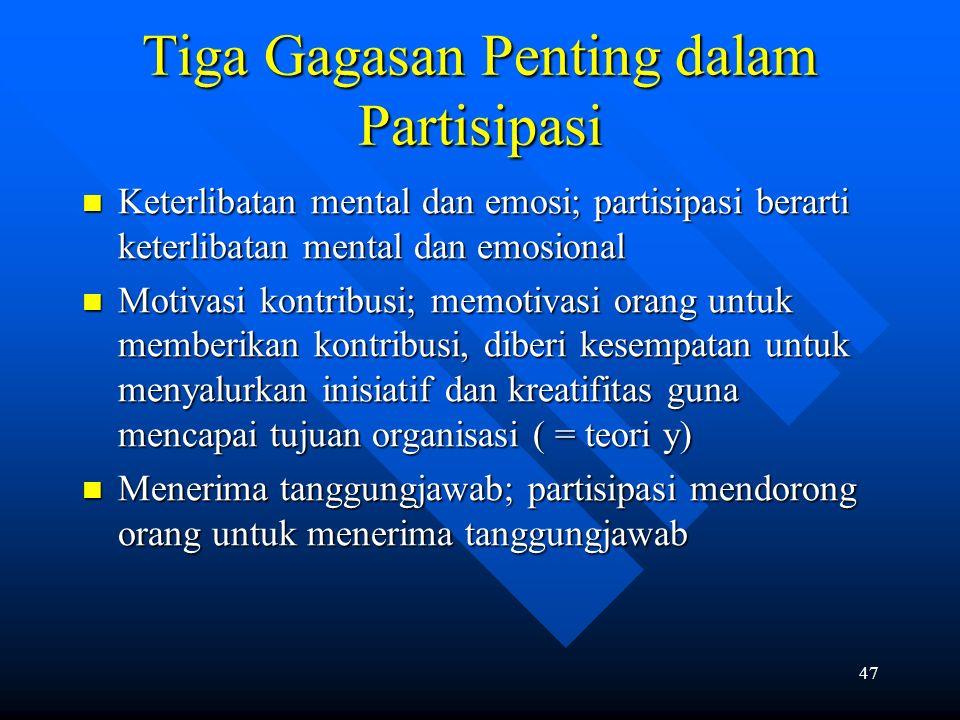 47 Tiga Gagasan Penting dalam Partisipasi Keterlibatan mental dan emosi; partisipasi berarti keterlibatan mental dan emosional Keterlibatan mental dan