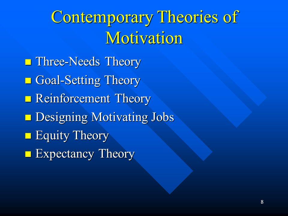 8 Contemporary Theories of Motivation Three-Needs Theory Three-Needs Theory Goal-Setting Theory Goal-Setting Theory Reinforcement Theory Reinforcement